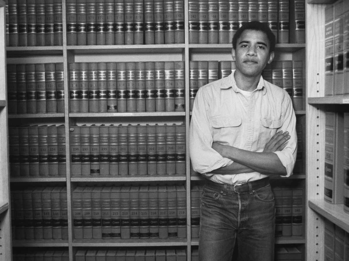 Former President Barack Obama after he was named head of the Harvard Law Review in 1990. In Making Obama, a six-part podcast from WBEZ, hear how Chicago shaped Obama's political ambitions. (Corbis via Getty Images)