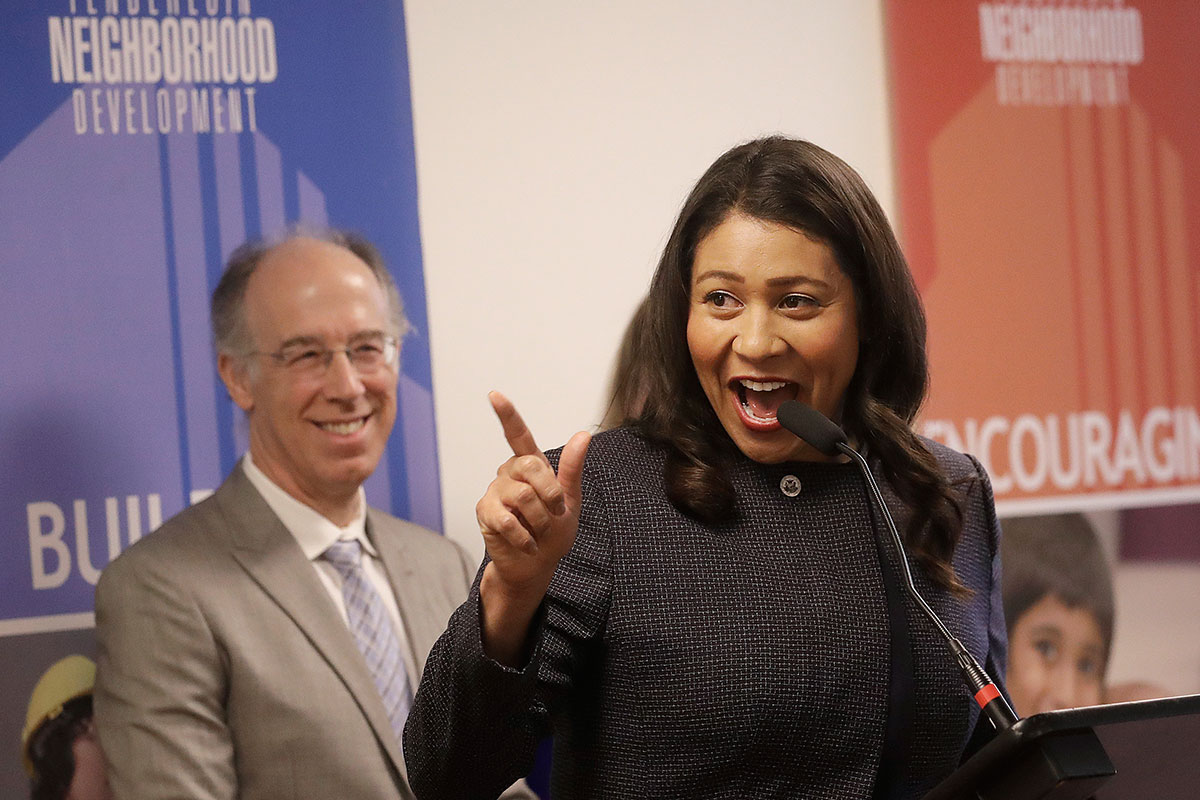 San Francisco Mayor London Breed speaks at the Tenderloin Neighborhood Development Corporation's Sala Burton Manor in San Francisco. Breed is the city's first female African-American mayor. (Jeff Chiu/AP Photo)