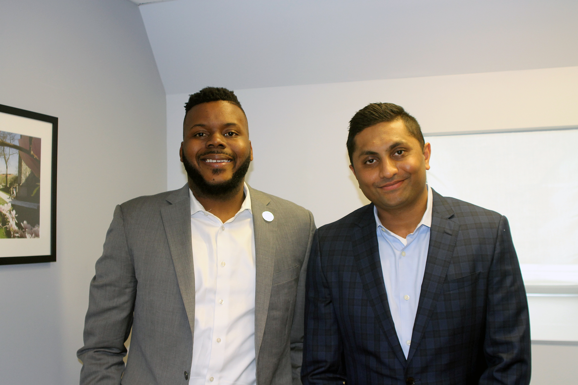 Stockton Mayor Michael Tubbs and 47th Ward Ald. Ameya Pawar at Pawar's office in the University of Chicago Institute of Politics on Nov. 12, 2018. (Arionne Nettles/WBEZ)