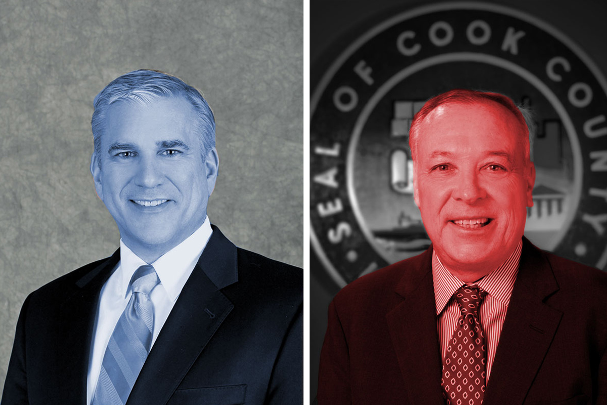 Democrat Scott Britton (left), is running to unseat Republican incumbent Gregg Goslin (right) as Cook County Commissioner in the 14th District. (Images courtesy of candidates and cookcountyil.gov. Photo illustration: Paula Friedrich)