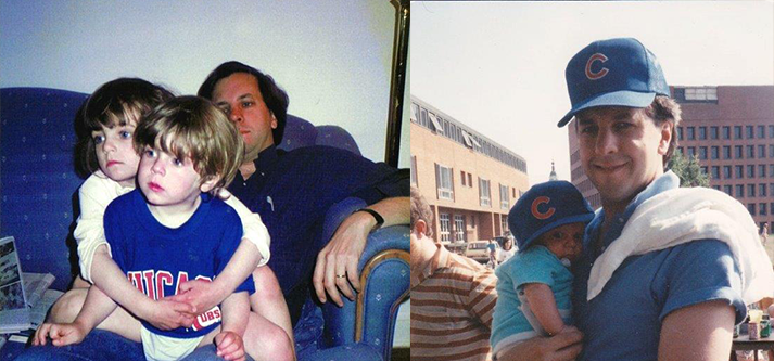 On the left: Ambassador Ian Kelly watches  the Cubs play with his children, Annie and Will in Moscow in 1989. On the right: Kelly poses with Will at the U.S. Embassy in Moscow. (Courtesy of Ian Kelly)