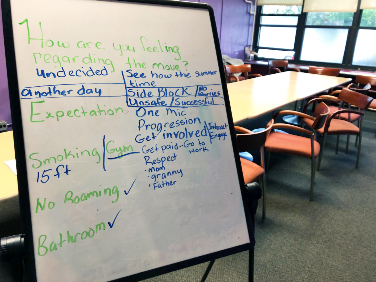 A whiteboard from a Cognitive Behavioral Therapy session at READI Chicago in the Austin neighborhood. Participants get group sessions meant to help them cope with trauma and avoid violent confrontations.