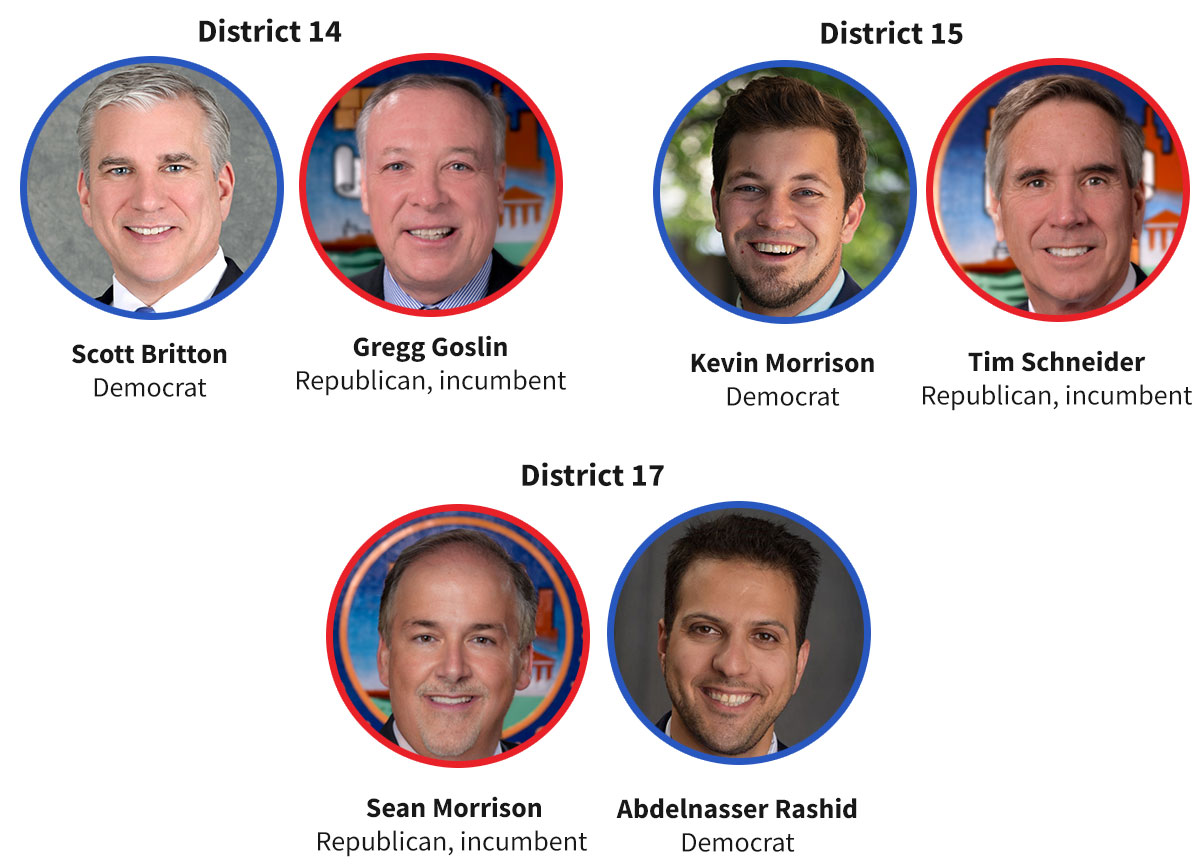 Images of 14th District candidates Democrat Scott Britton and Republican incumbent Gregg Goslin; 15th District candidates Democrat Kevin Morrison and Republican incumbent Tim Schneider; 17th District candidates Republican incumbent Sean Morrison and Abdelnasser Rashid.