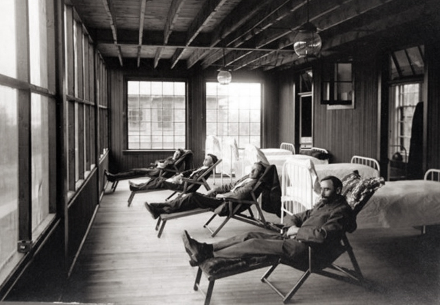 TB patients at the sanitarium were required to rest in front of open windows for long periods -- even during the winter -- as part of the treatment process. (Courtesy Mindy Schwartz)