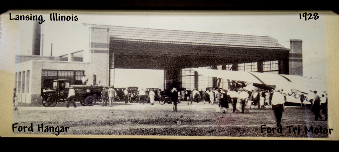 A 1928 image of the Ford Hangar and a Ford TriMotor plane hangs inside of the building today.