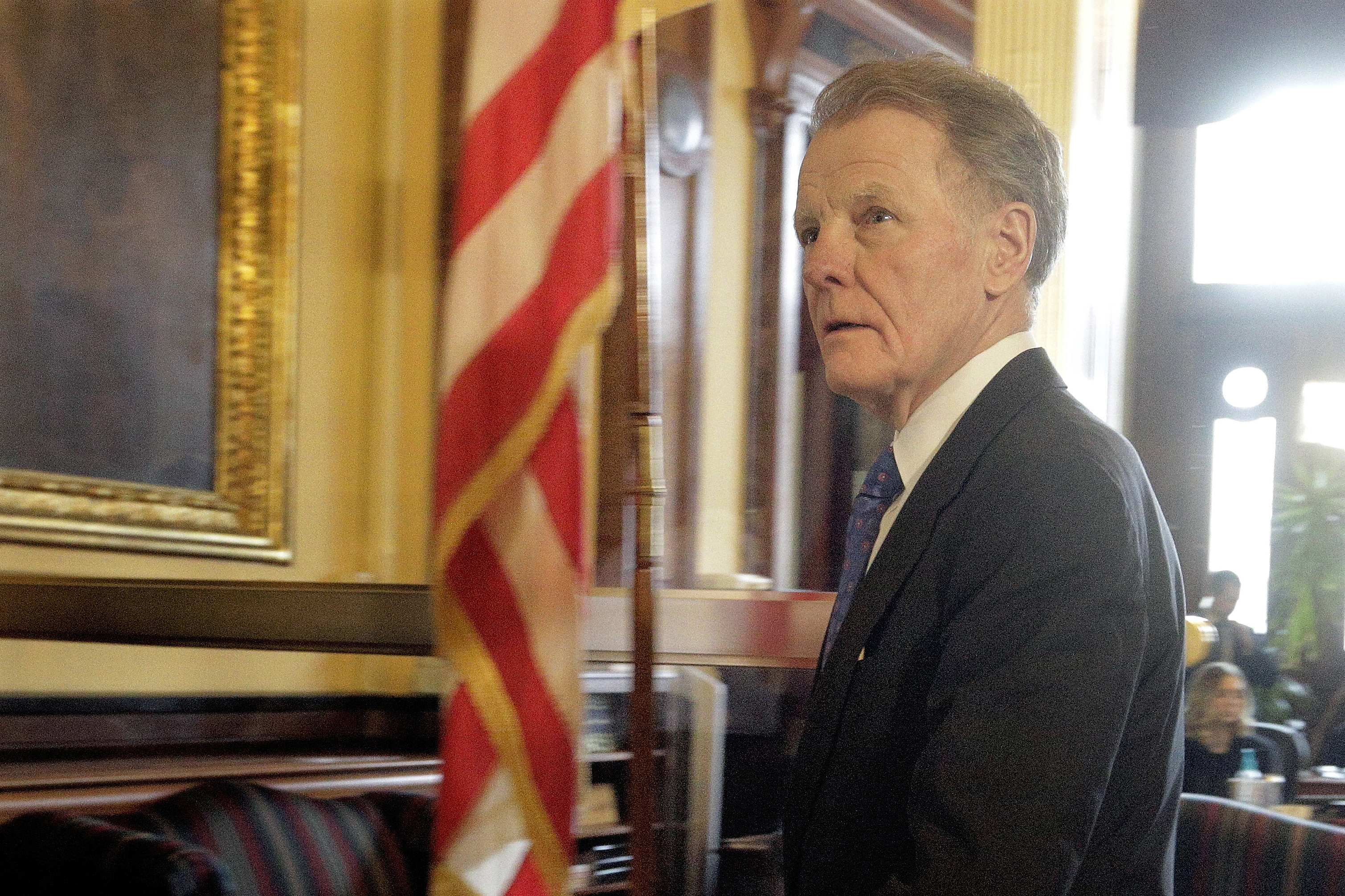 Illinois Speaker of the House Michael Madigan, D-Chicago, walks out of Illinois Gov. Bruce Rauner's office during veto session at the Illinois State Capitol on Nov. 30, 2016, in Springfield, Ill. (Seth Perlman/Associated Press)