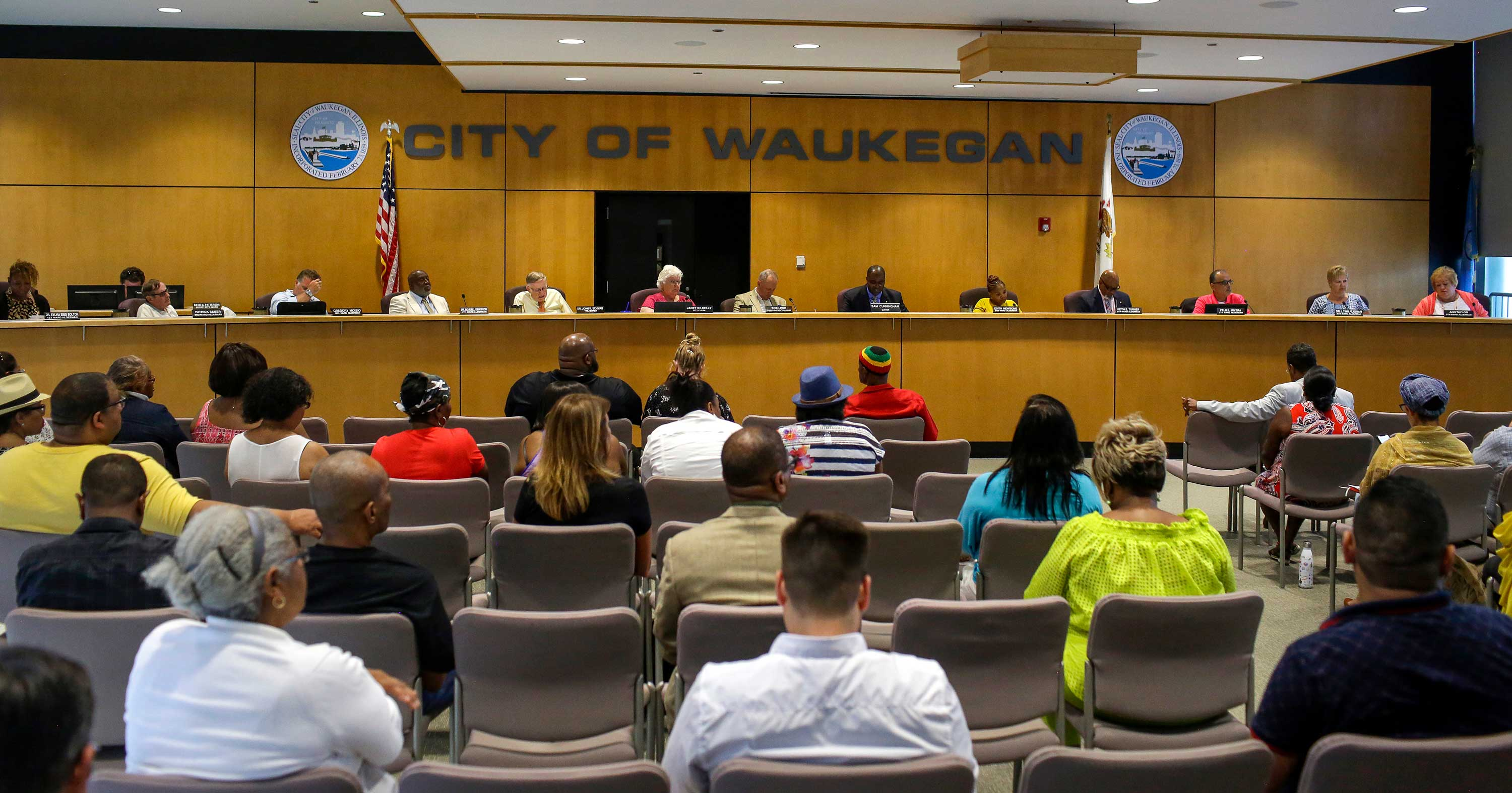 Waukegan City Council members and Mayor Sam Cunningham at a meeting on Aug. 5, 2019. Residents, aldermen and the mayor discussed a proposed casino and video gambling restrictions for the town.