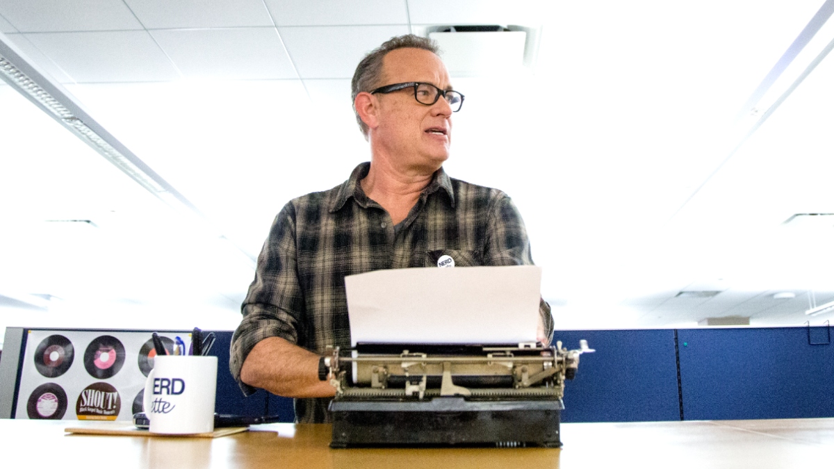 Tom Hanks is the star of such films as 'Saving Private Ryan,' 'Philadelphia,' and 'Toy Story.' He's also obsessed with typewriters. (Andrew Gill/WBEZ)