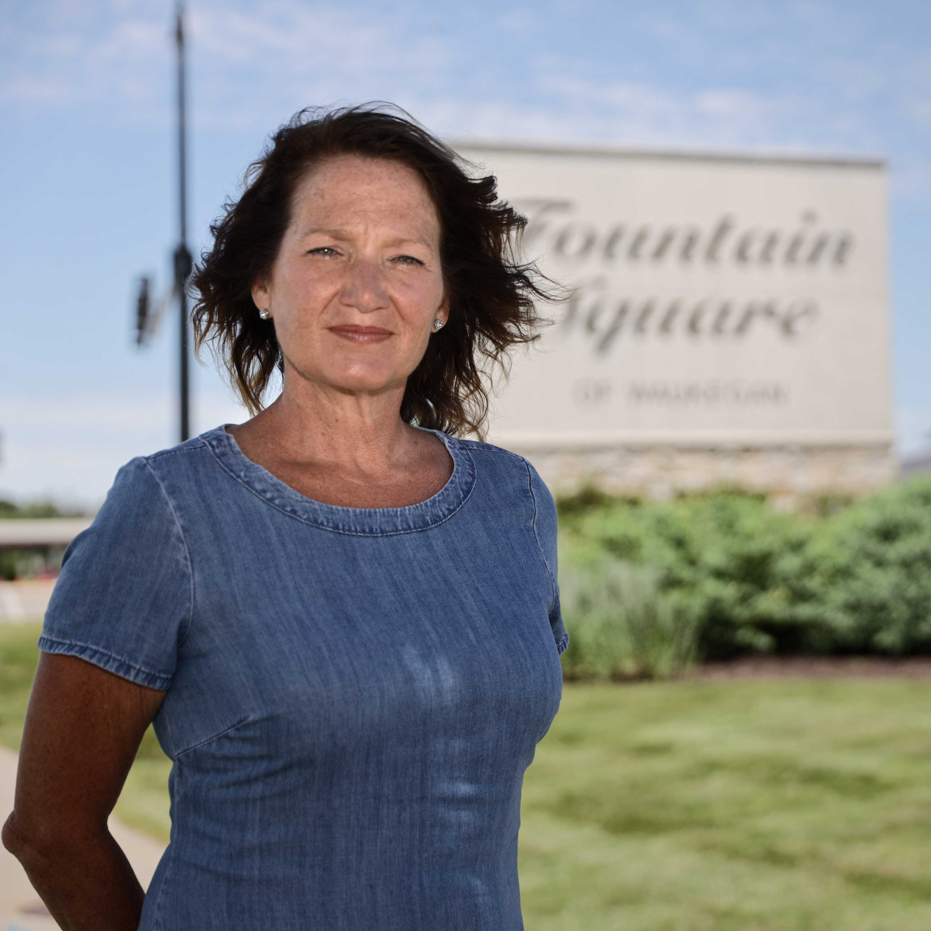Lisa May, former Waukegan 7th Ward Alderman and former mayoral candidate, at Fountain Square of Waukegan mall, which is across from a possible casino site.
