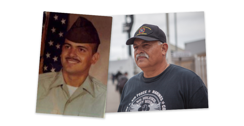 Hector López during his time in the military and in 2019