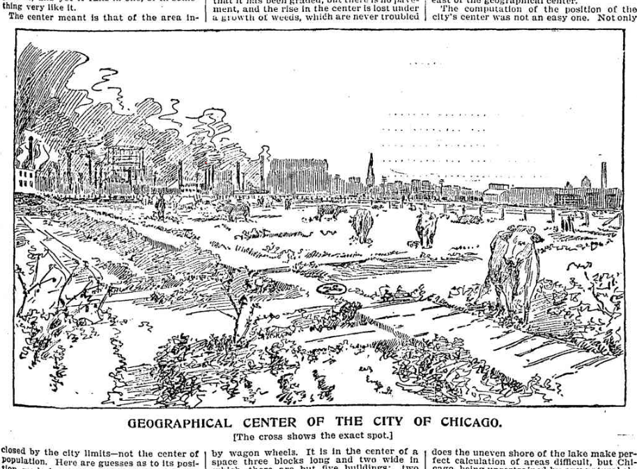 A  Chicago Tribune illustration of Chicago's center point in 1896. (Chicago Tribune Archives)