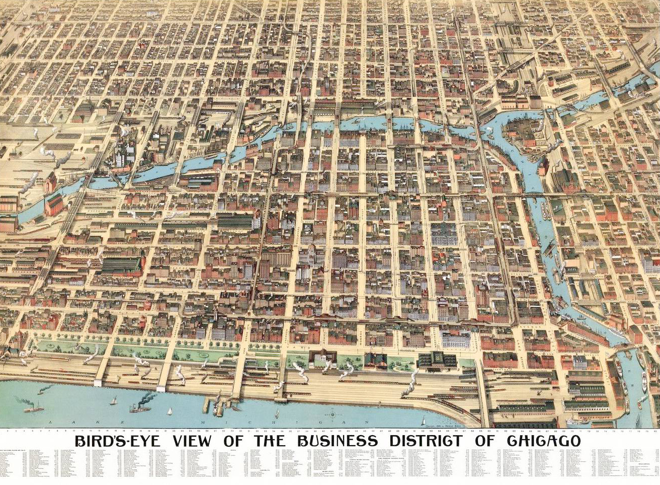 An 1898 map (with north oriented to the right) shows the area bounded by the Chicago River on the north and west, Lake Michigan on the east, and Roosevelt Road on the south start to develop as a central business district. (Courtesy Chicago History Museum, ichi-14892)