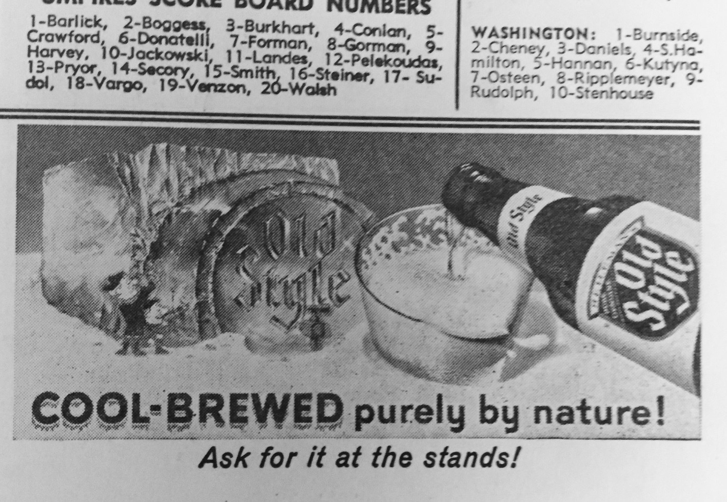 An ad for Old Style on a 1962 Wrigley Field scorecard. (Courtesy Bill Savage)