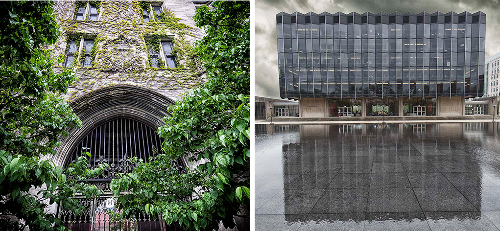 The law library looks starkly different from nearby buildings, but both are made with same limestone.