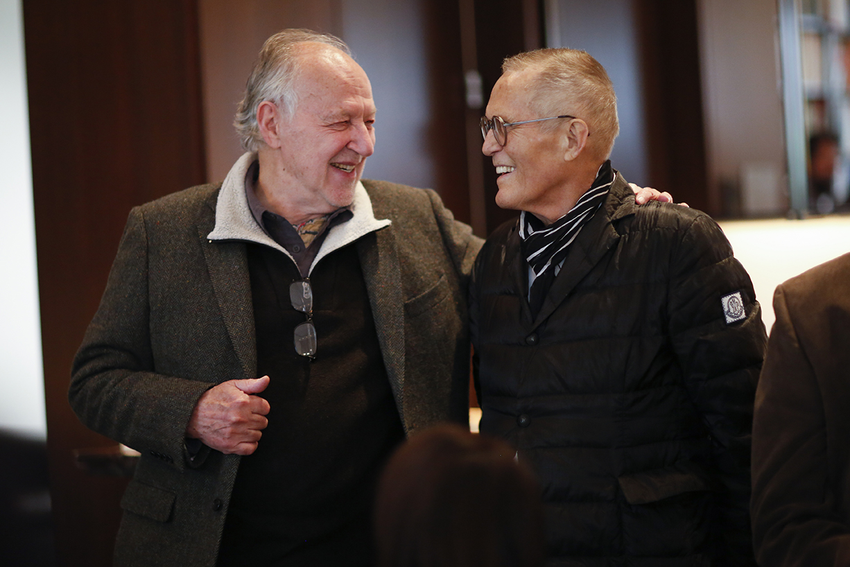 Director Werner Herzog and Facets Founder Milos Stehlik at Facets' Werner Herzog Master Class reception at the Arts Club of Chicago.