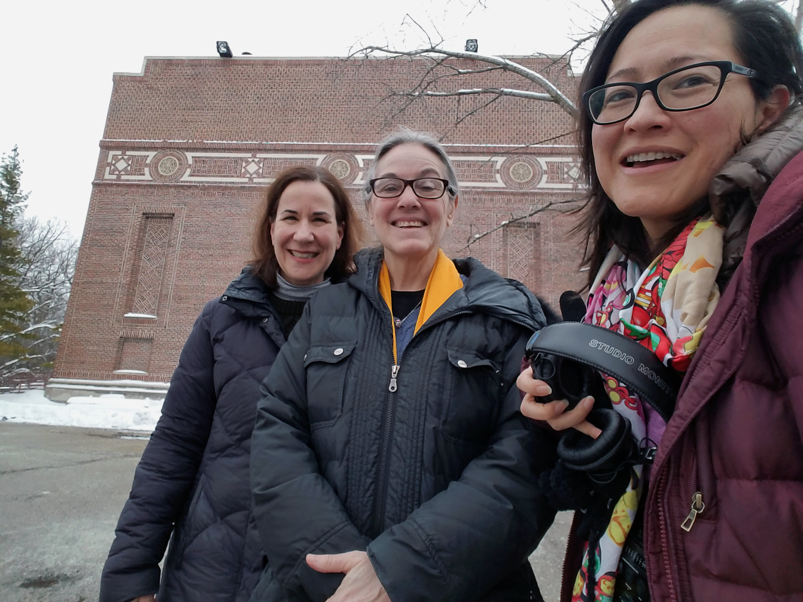 Sanitarium historian Frances Archer, left, questioner Laurie Nayder, center, and Curious City reporter Monica Eng, right, in front of the former sanitarium auditorium. (WBEZ/Monica Eng)