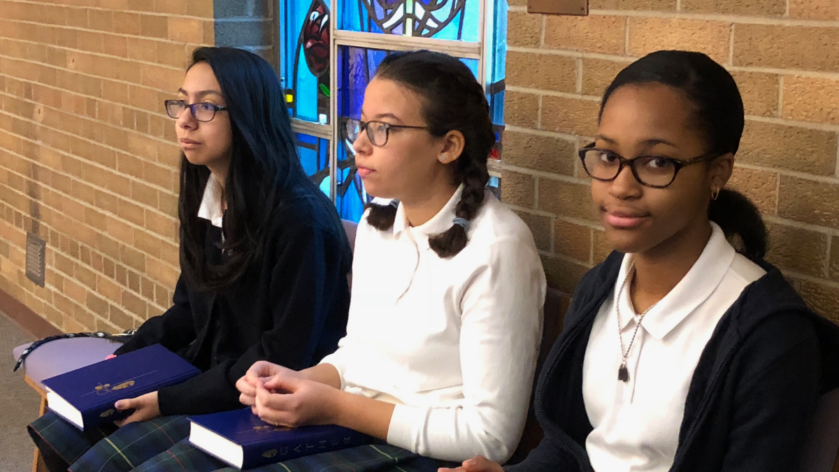 Students at St. Walter School in Chicago's Morgan Park neighborhood have come up with creative fundraising ideas to save their school, including selling handmade slime and bracelets. (Adriana Cardona-Maguigad/WBEZ)