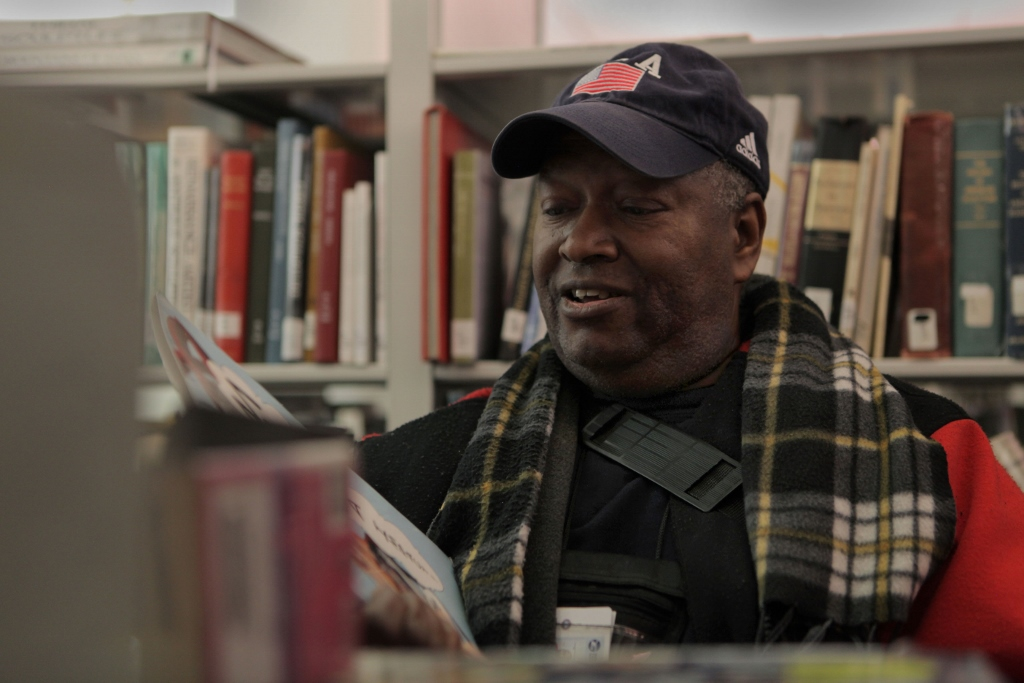 To stay warm during the daytime, Cunningham spent time at the Harold Washington Library, reading books and attending cultural events. (WBEZ/Maggie Sivit)