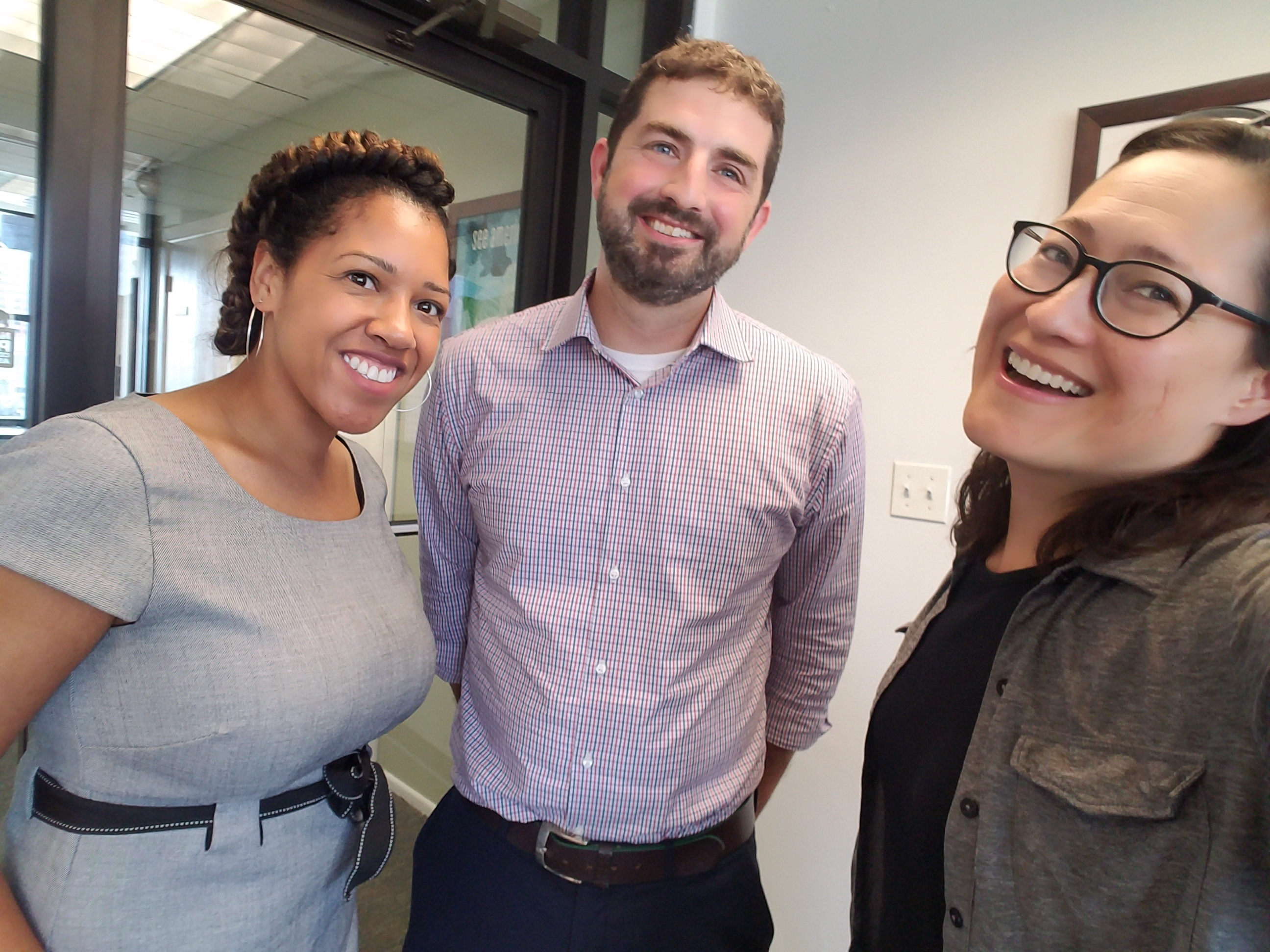 Mark Mesle (center) with reporters Arionne Nettles (left) and Monica Eng (right). (WBEZ/Monica Eng)