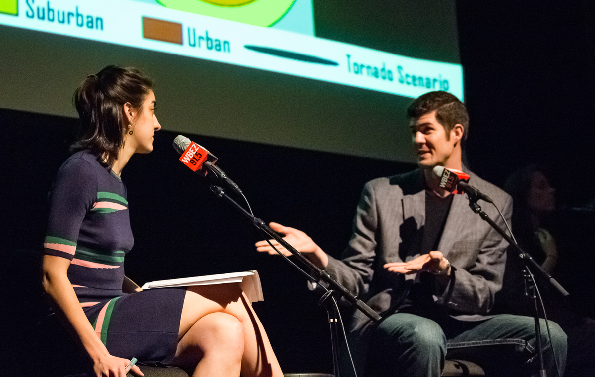 Reporter Chloe Prasinos, left, and meteorologist Victor Gensini, right, at Curious City's live event. (Shawn Allee/WBEZ)