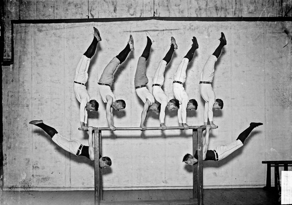 A group of Turners pose on the parallel bars in a Chicago gym in 1905.