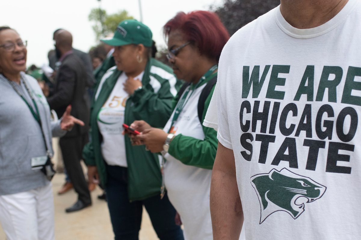 Chicago State faculty, staff, students, and alumni assemble outside the Jones Convocation Center on the CSU campus. The school is aiming to put its recent troubles behind it. (Marc C. Monaghan for WBEZ)