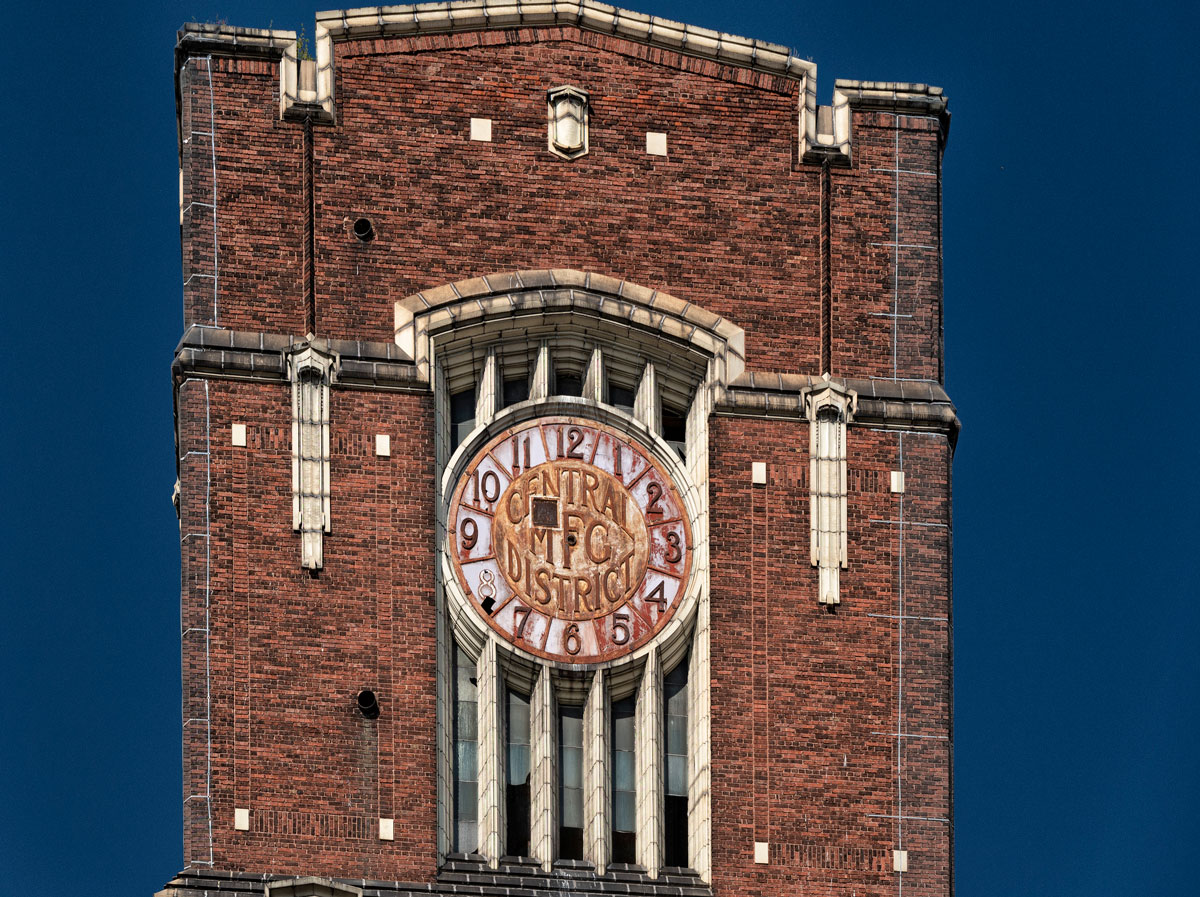 The top of the clock tower in the Central Manufacturing District.