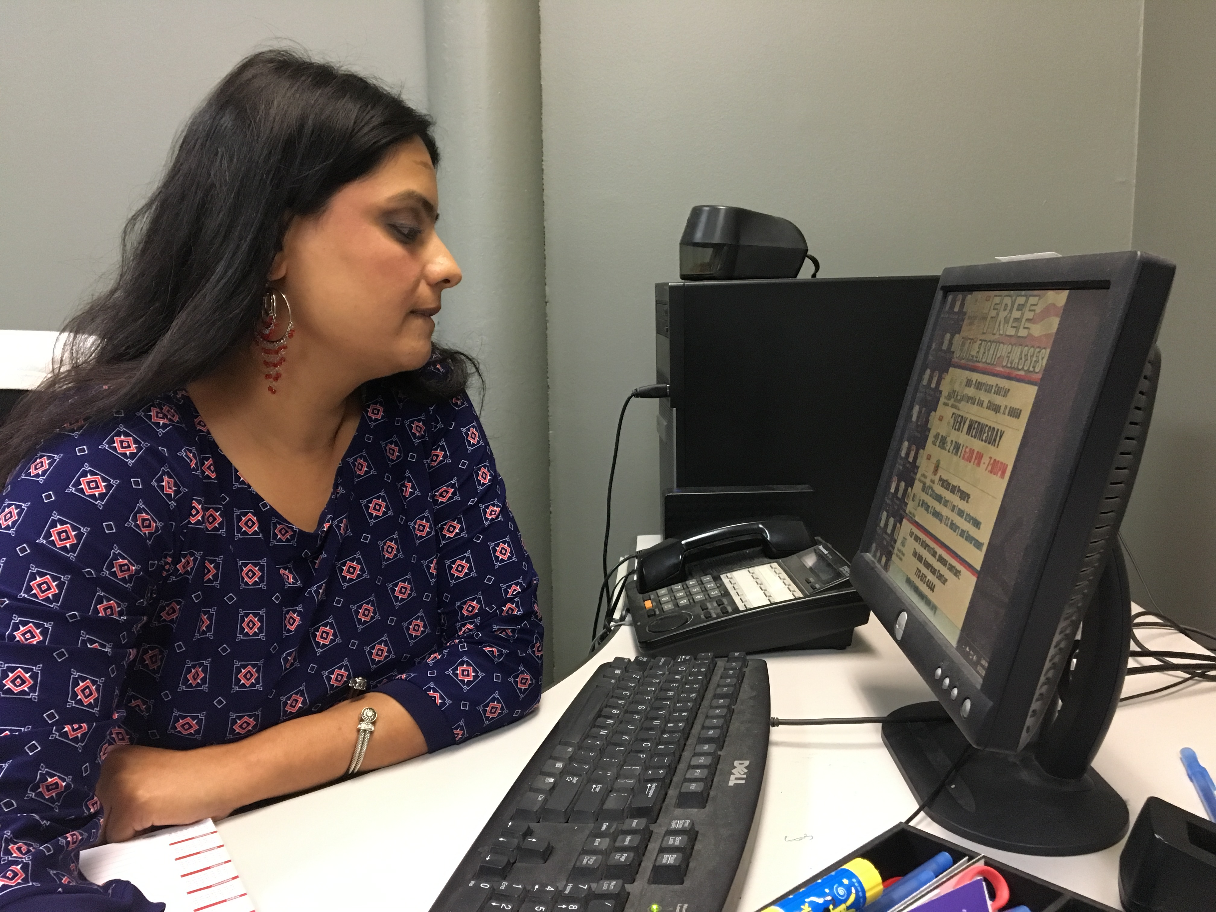 Amina Khan, staff attorney at the Indo-American Center, blocked out ten hours in September to help eligible immigrants fill out their DACA renewal applications. Only one person showed up. (Odette Yousef/WBEZ)