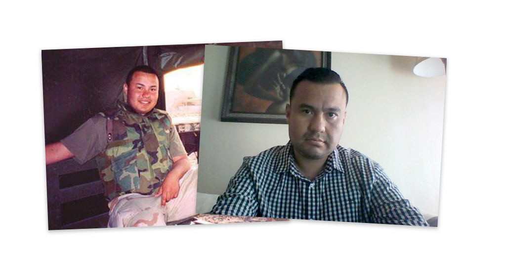 Edwin Salgado during his time in the military and today