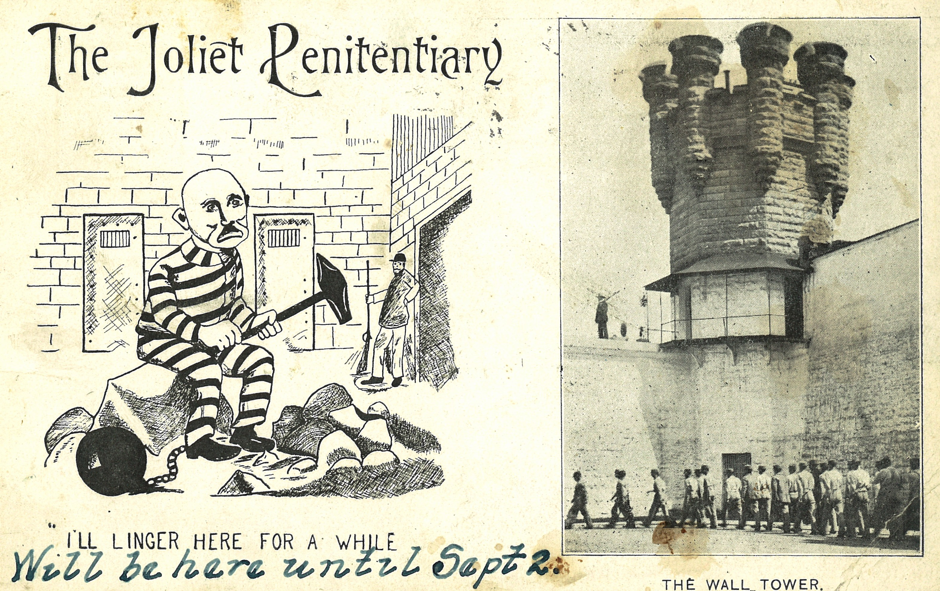 A postcard from the prison from circa 1890. (Courtesy of Joliet Area Historical Museum)