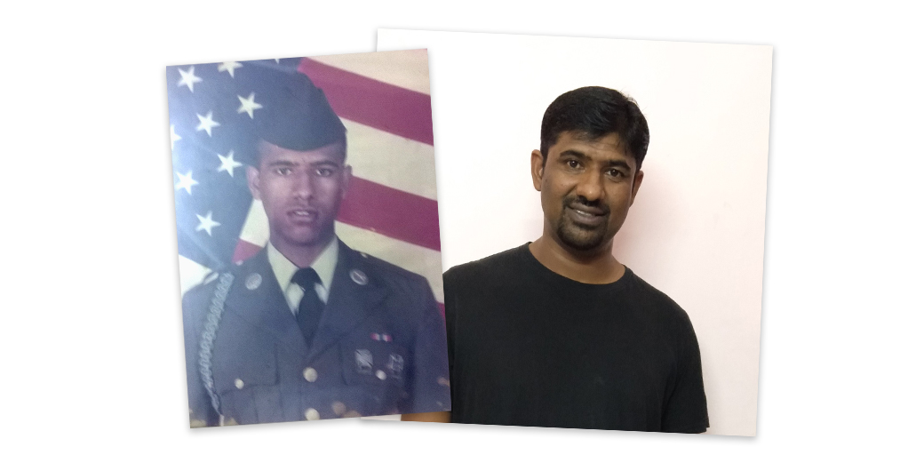 Jiji Kurian during his time in the military and today