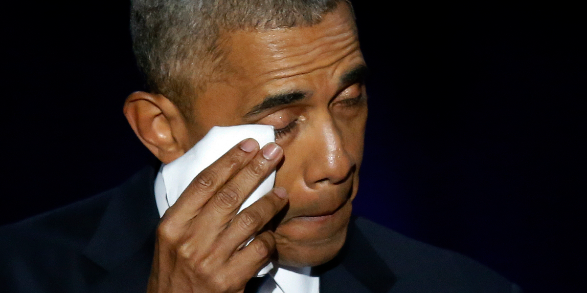 President Barack Obama wipes his tears as he gives his farewell speech at McCormick Place in Chicago on Tuesday. (Charles Rex Arbogast/AP)