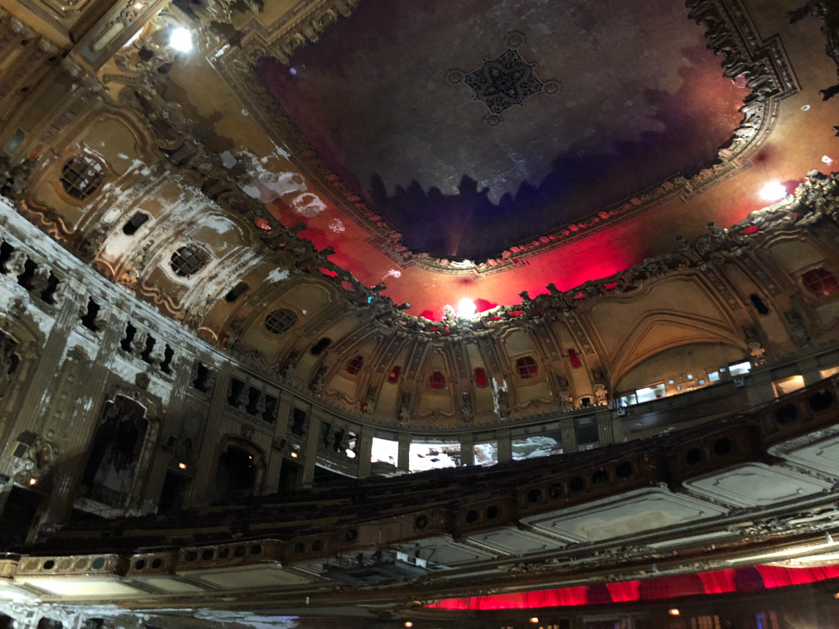 The ceiling of the auditorium, seen here after a June 2018 press conference. Theater owner Jerry Mickelson did not allow photos to be taken on Thursday 'to protect the element of surprise' when the theater reopens in 2020. (Becky Vevea/WBEZ)