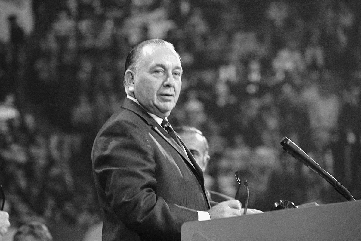 Richard J. Daley stands at the podium during the first day of the Democratic National Convention in 1968. (AP Photo)