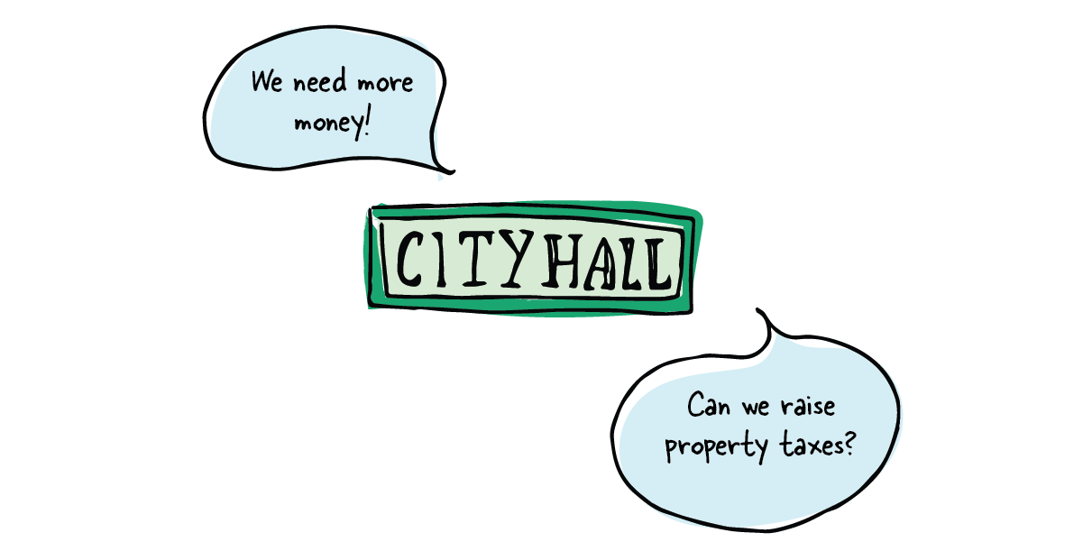 A City hall sign with a speech bubble asking 'Can we raise property taxes?'