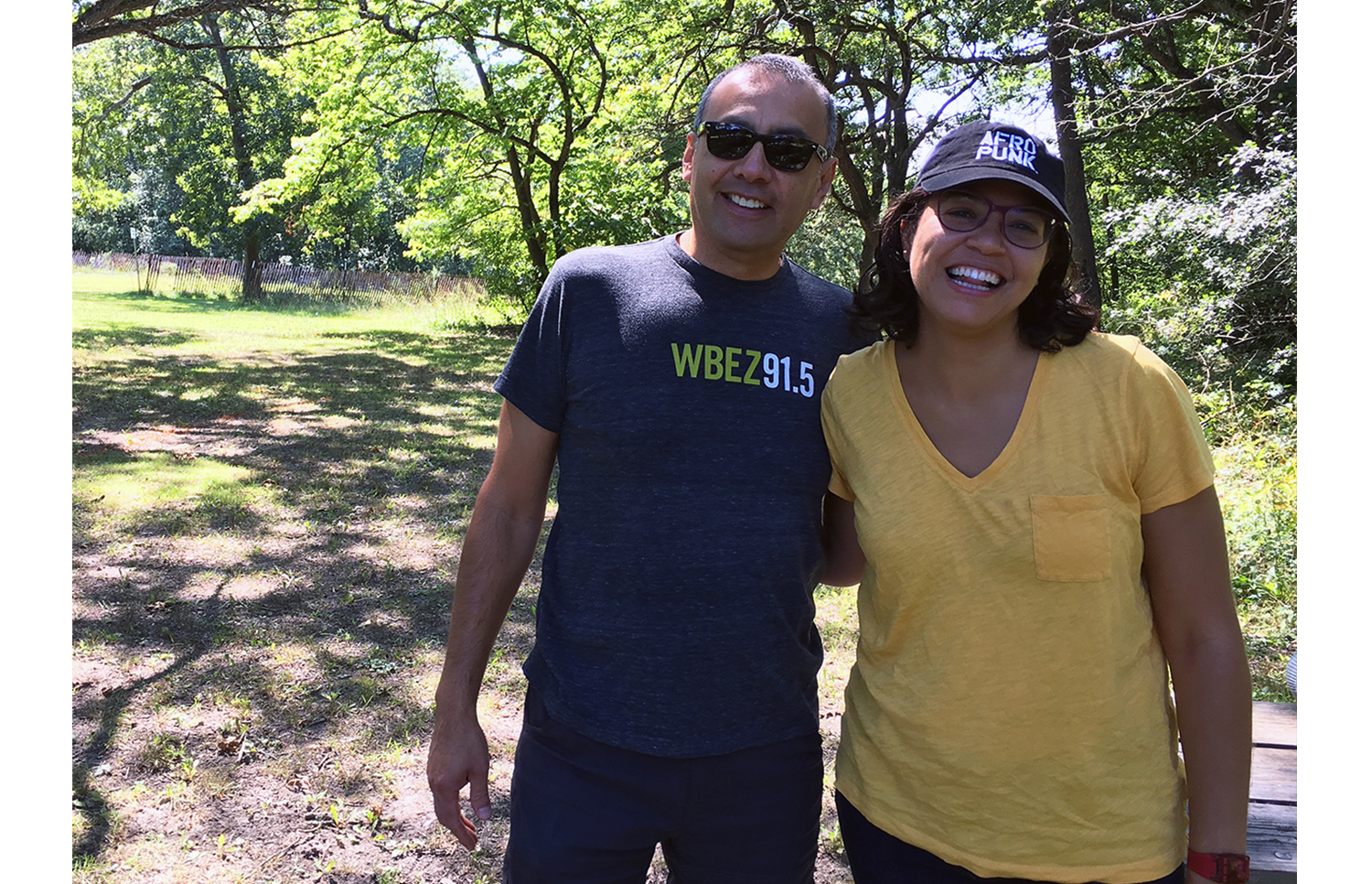 To learn more about the history of the Cook County Forest Preserves, questioner Arnulfo Delgado (left) took a walk through the Deer Grove Forest Preserve with anthropologist Natalie Bump Vena (right). (WBEZ/Jake Smith)