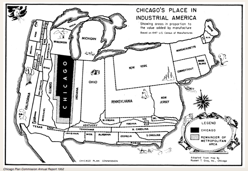 A 1952 map from a Chicago Plan Commission report shows 'areas in proportion to the value added by manufacture'