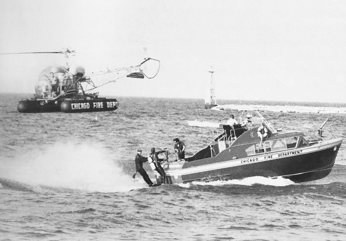 The Chicago Fire Department performs an air rescue demonstration in the 1960s. (Courtesy The Chicago Air and Water Show: A History of Wings above the Waves)