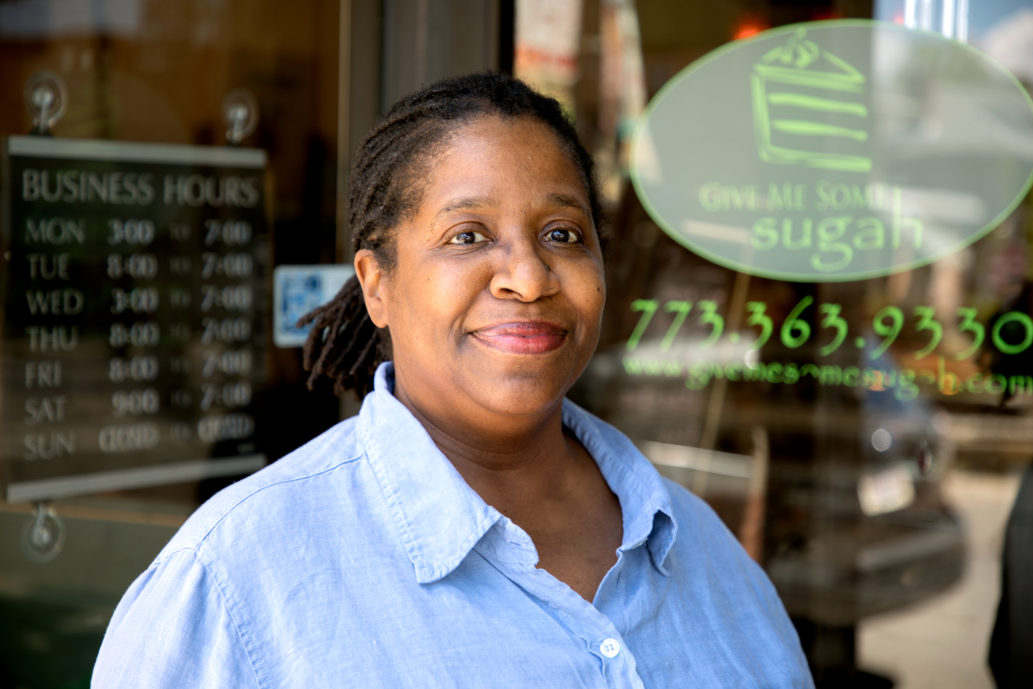 Lenore Lindsay is the owner of Give Me Some Sugah Cafe at 2234 East 71st Street. She said the downzoning strategy could be a good thing. (Andrew Gill/WBEZ)