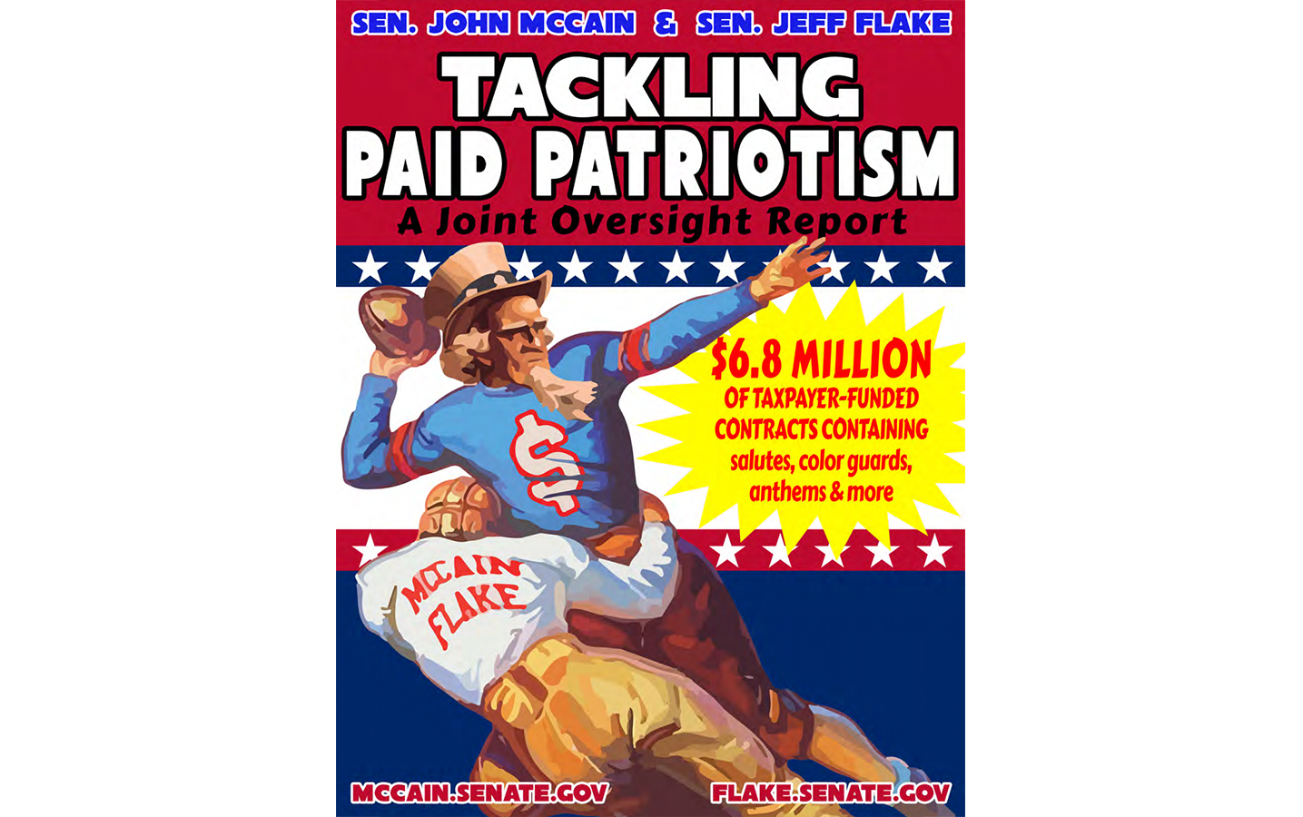 Senators McCain and Flake's 2015 report on paid patriotism at sporting events included college teams. (Courtesy www.mccain.senate.gov)