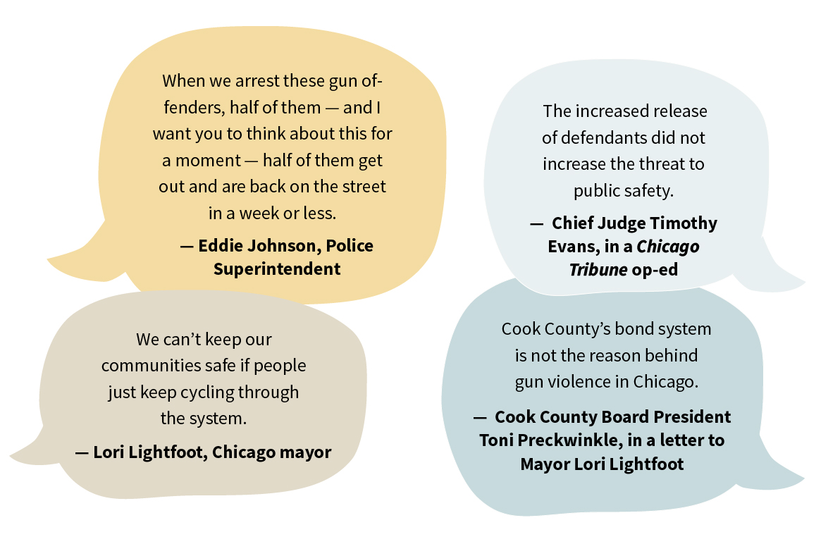 back and forth quotations from Cook County officials about bond reform