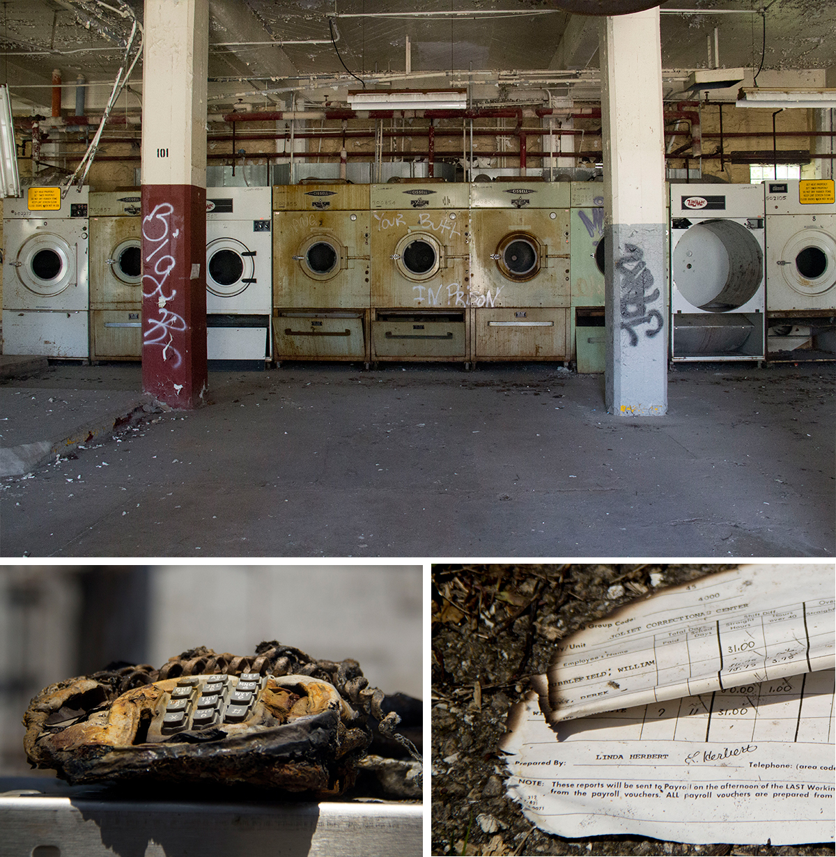 The facility is now filled with graffiti, including the room that once held washers. (Top) Other parts of the prison that were burned by arsonists are littered with things like charred phones (bottom left) and documents (bottom right). (Paula Friedrich/WBEZ)