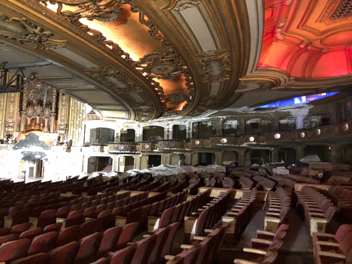 Thursday's tour guide said the seats will be removable when the theater reopens to accommodate several types of events. Photo taken in June 2018. (Becky Vevea/WBEZ)