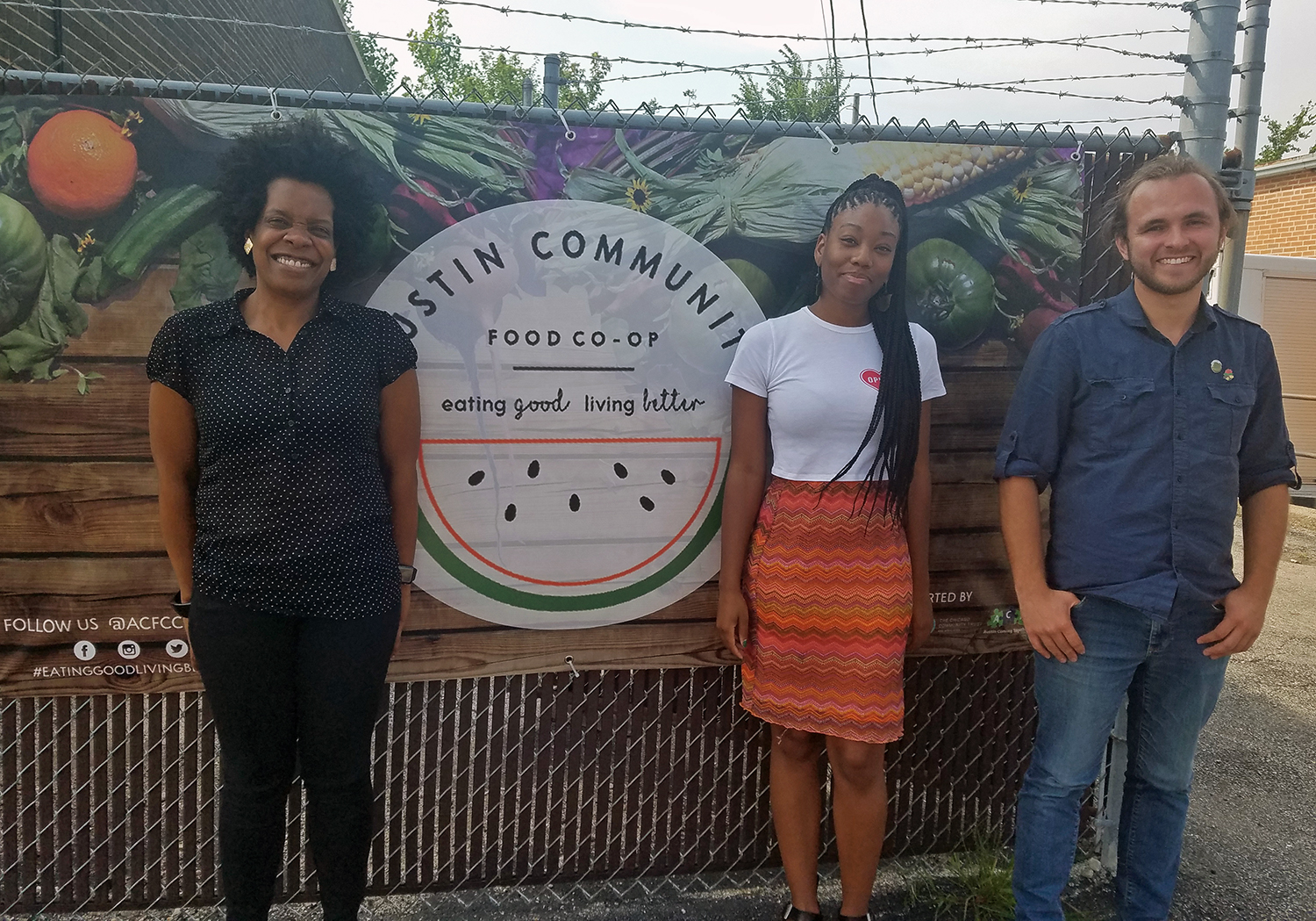 The nonprofit group Austin Coming Together is in the early days of creating the Austin Community Food Co-op, which aims to provide access to fresh produce in a neighborhood lacking healthy food options. From left: Organizers Vanessa Stokes, Briana Shields and Alec Hudson (WBEZ/Monica Eng)