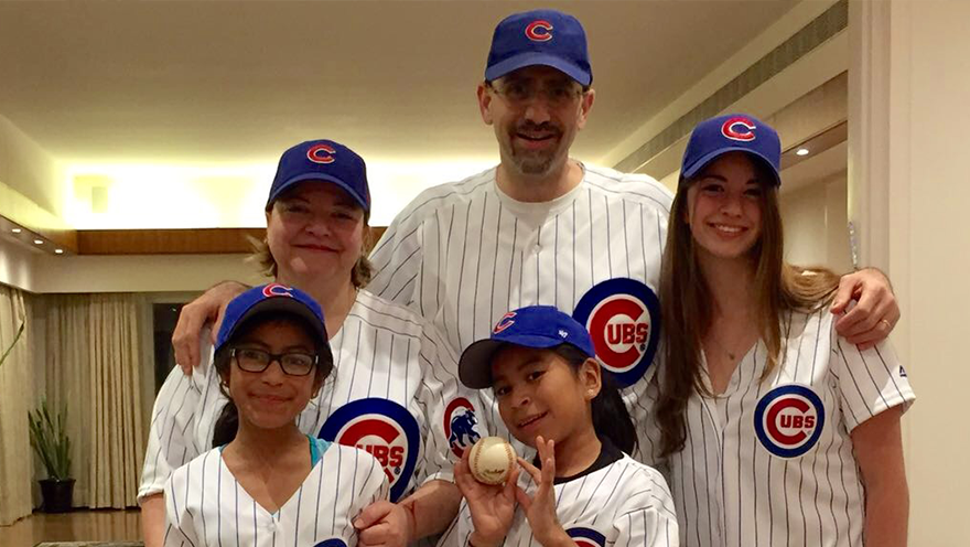 Ambassador Daniel Shapiro poses with his family in Israel ahead of the World Series. (Courtesy of Daniel Shapiro)