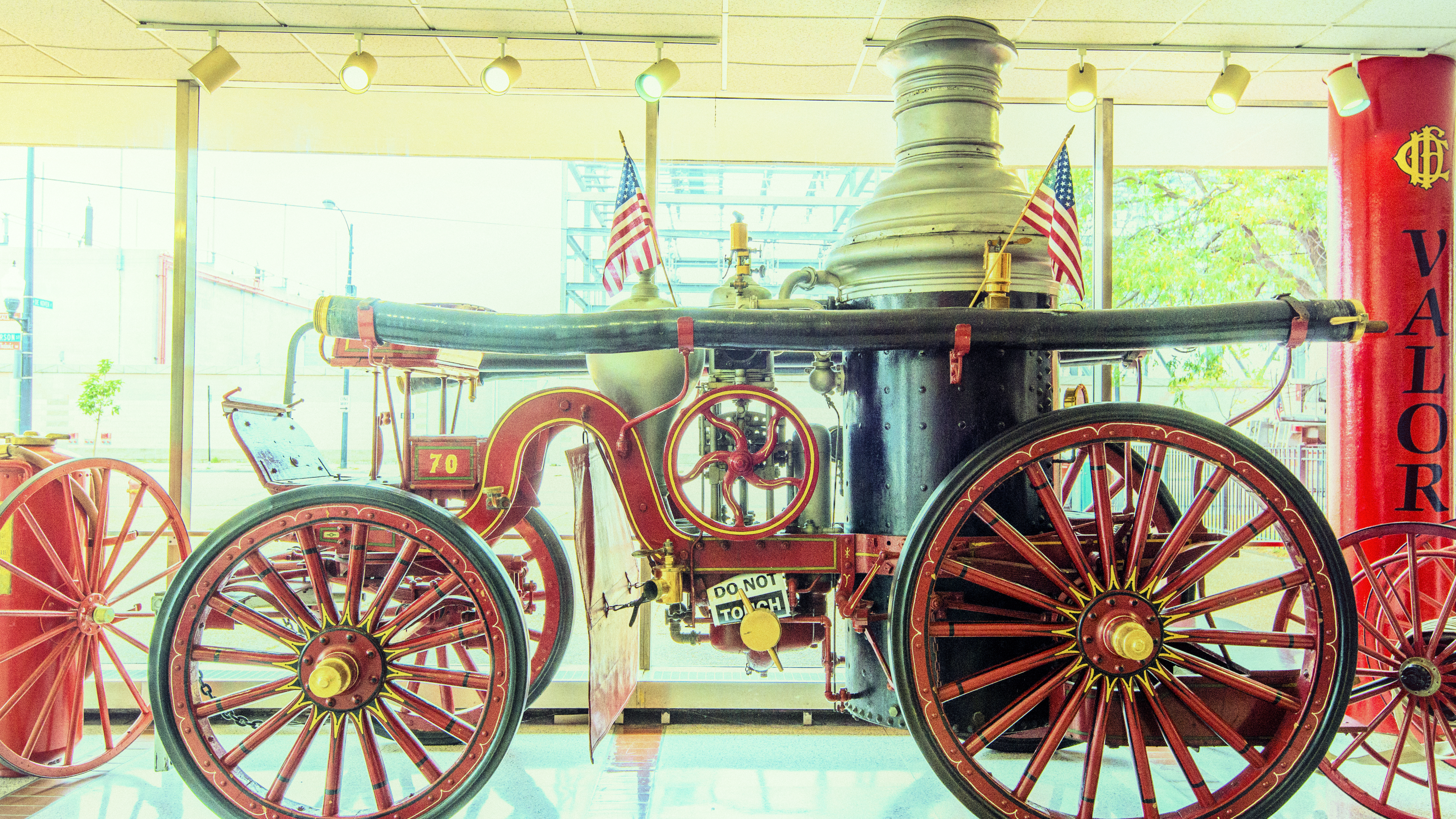 A mid-1800s steam-powered fire truck is on display at the Chicago Fire Academy. (Jason Marck/WBEZ)