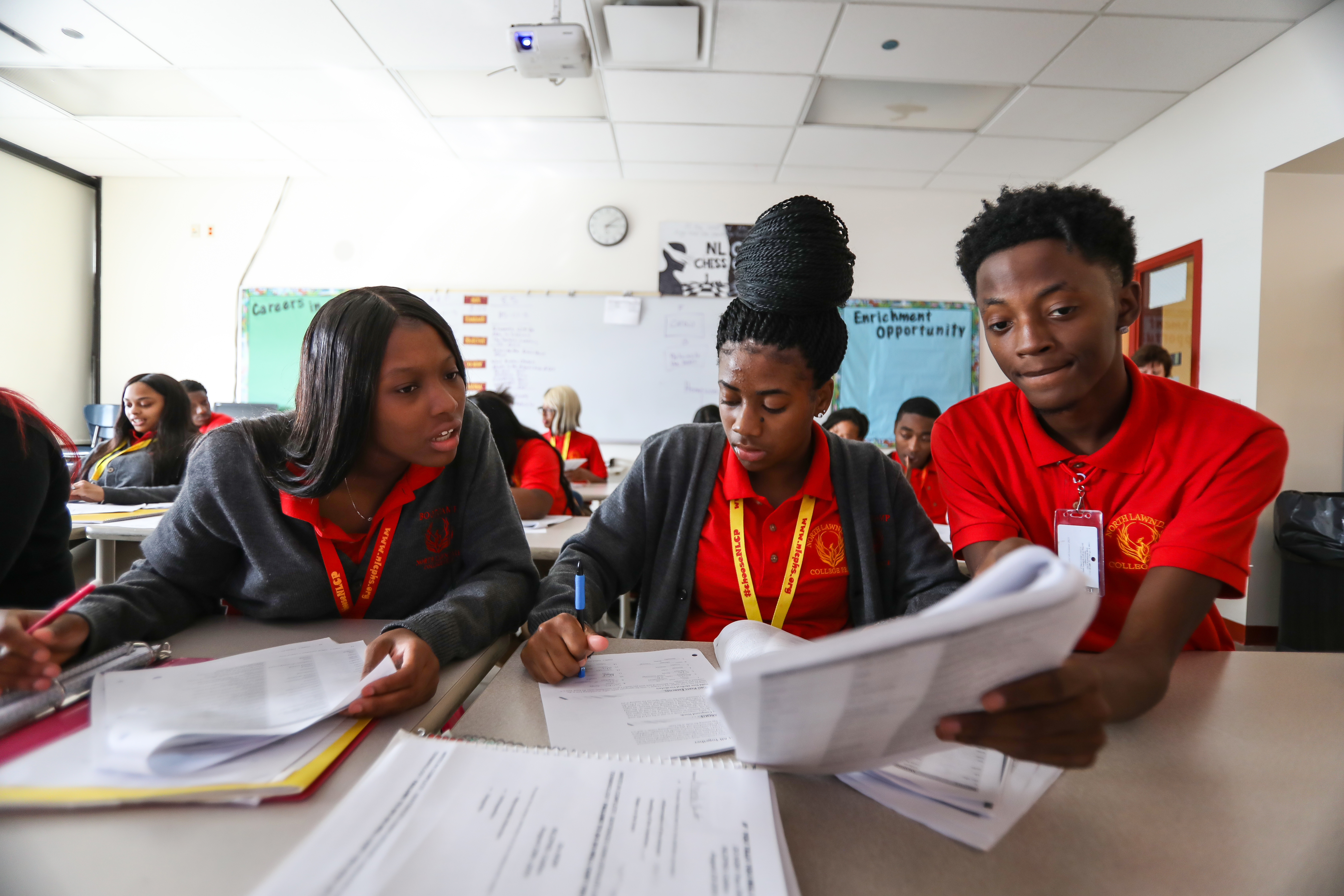 The teacher of this college-level class at North Lawndale College Prep says few students fail his class because he offers lots of supports, like tutoring and help during lunch time.