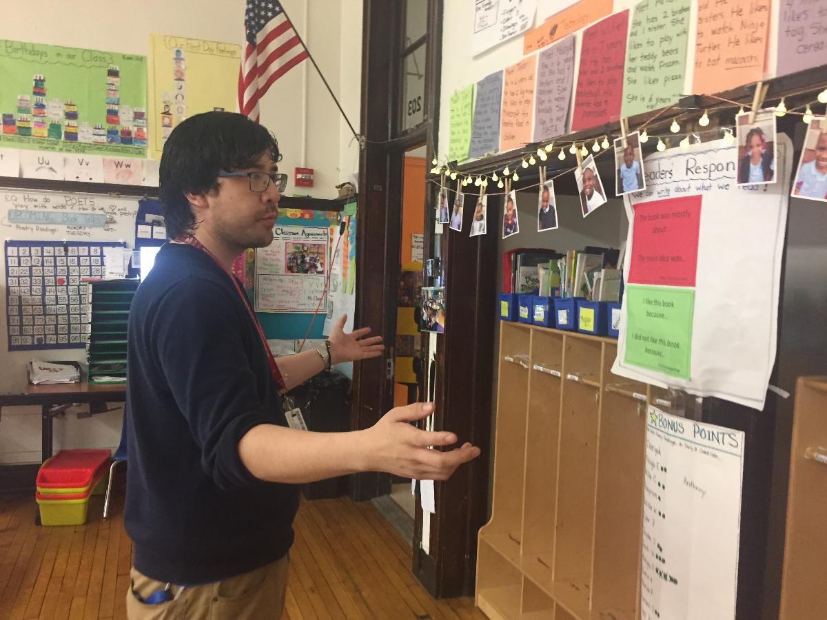 Burke Elementary teacher Andrew Chen in his classroom. (Adriana Cardona-Maguigad/WBEZ)