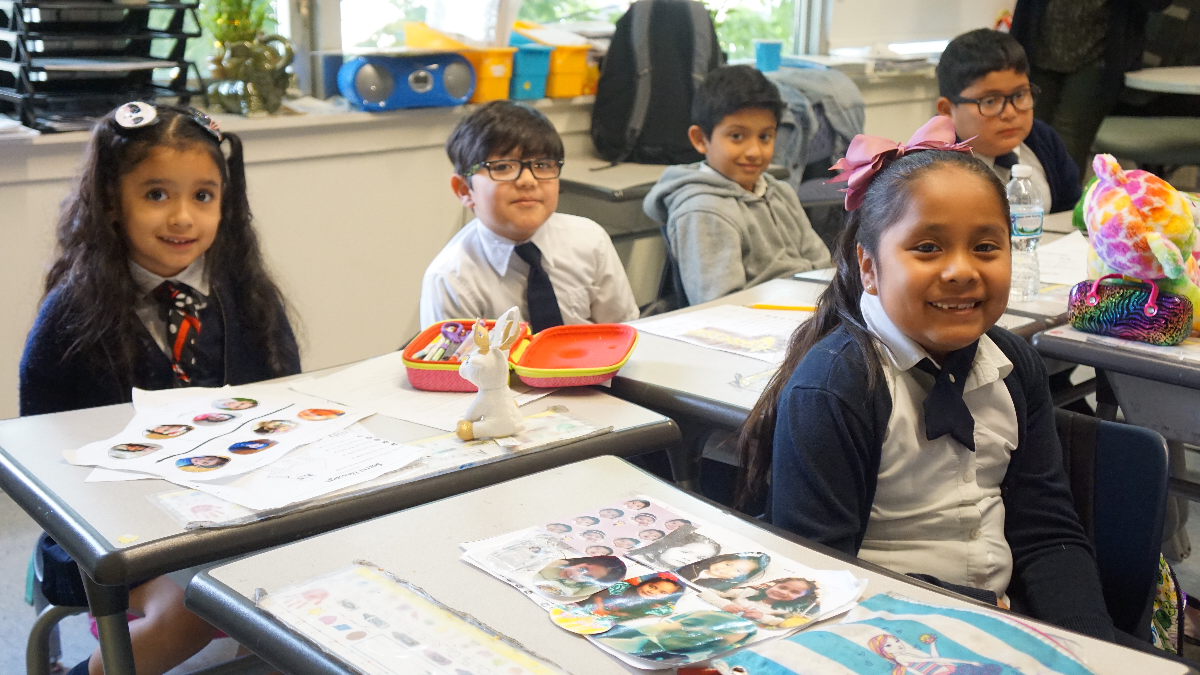 Acero's Zizumbo elementary first-graders are in their second year of the dual language model the network is trying to implement. (Adriana Cardona Maguigad/WBEZ)