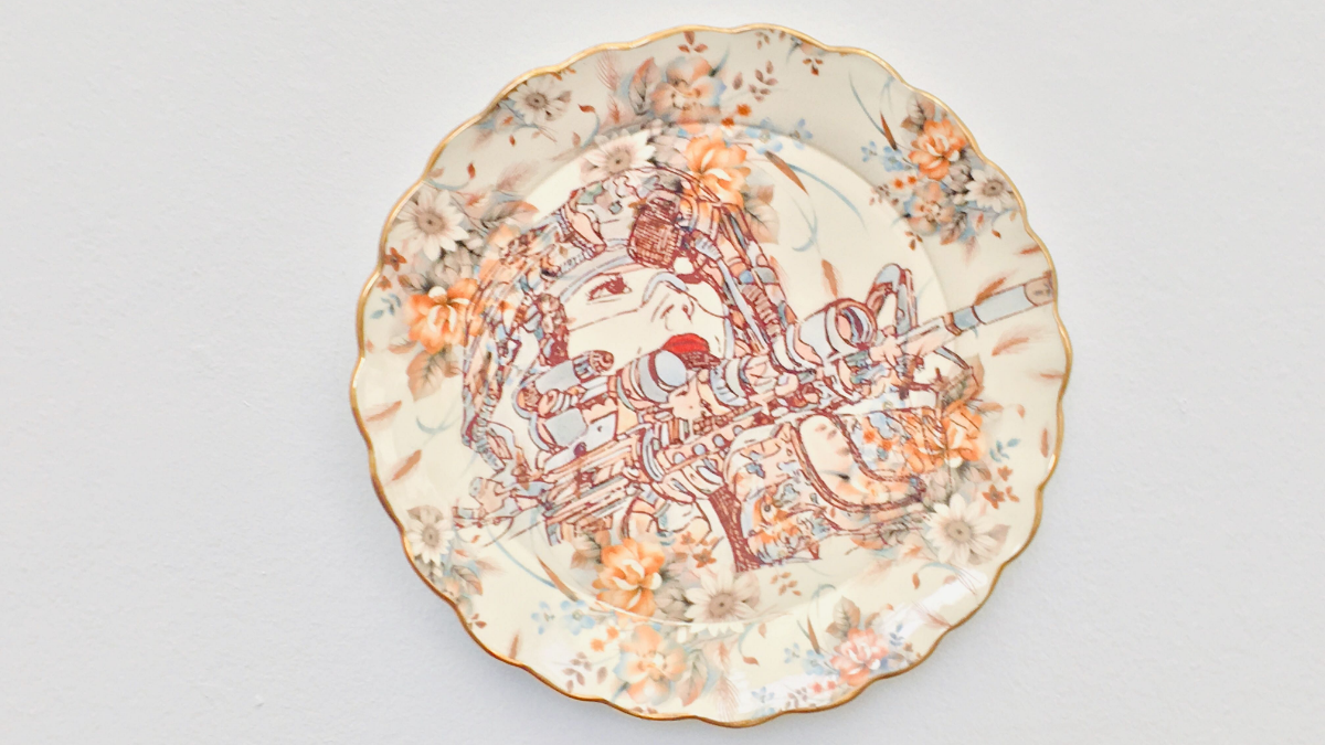An untitled ceramic artwork by Air Force veteran Jessica Putnam-Phillips hangs at the Chicago Cultural Center as part of the National Veterans Art Museum's new exhibit.